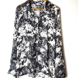 Black and White Floral Chiffon top